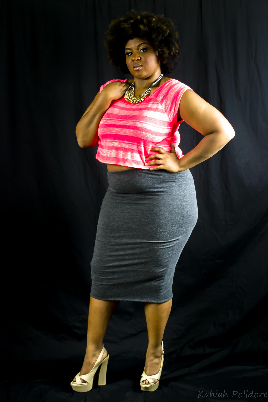 a40e93c988e500 Outfit Details: Hot Pink Crop Top- Image Grey Pencil Skirt- Express Tan  Platforms