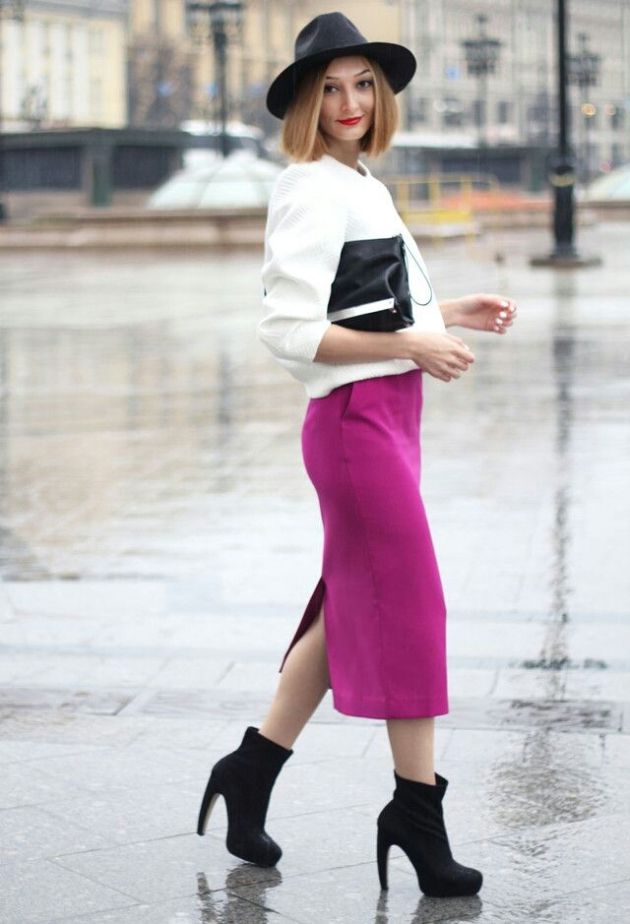 Long Magenta Pencil Skirt