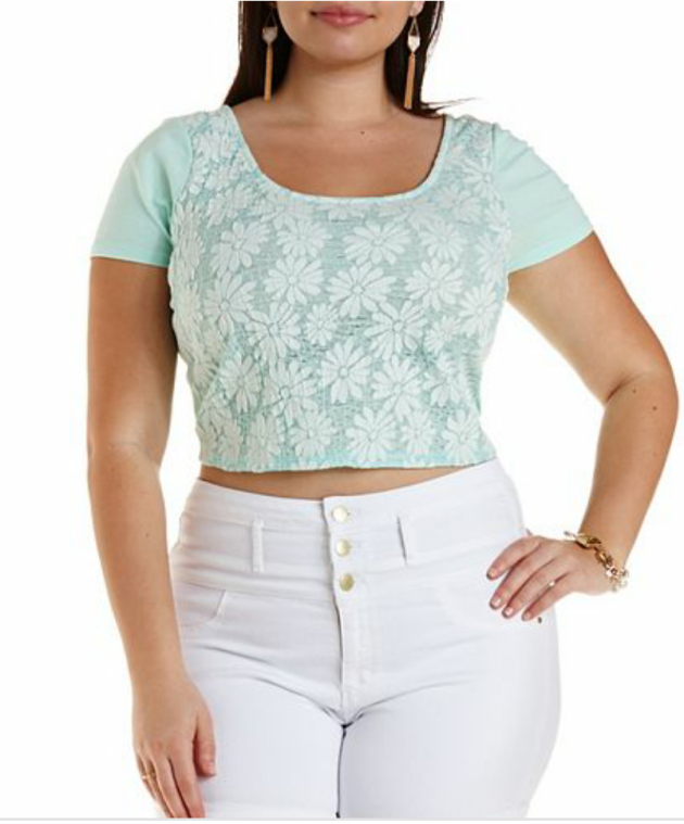 Plus Size Daisy Lace Crop Top Price:  $16.99